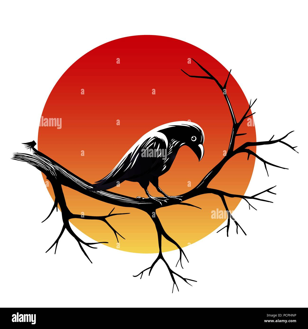 Black raven sitting on a branch of leafless tree against sun isolated on black. Vector illustration - Stock Image