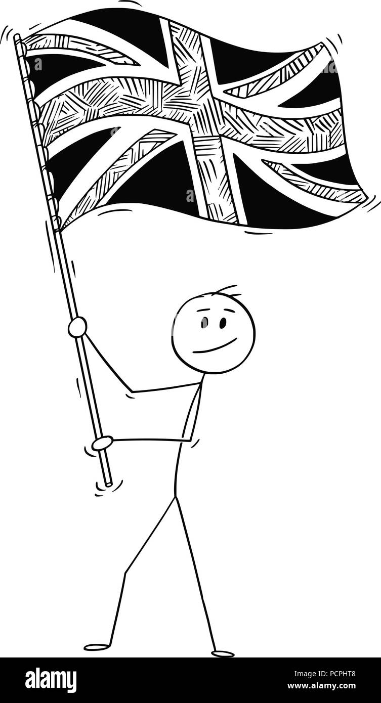 Cartoon Of Man Waving The Flag Of United Kingdom Of Britain Stock