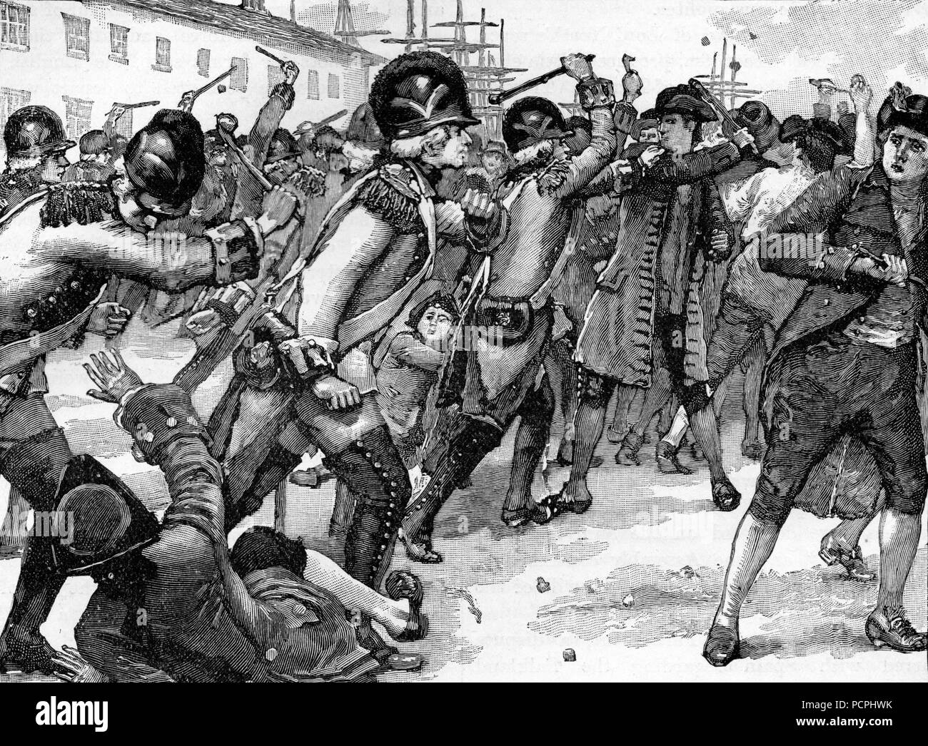 Affray at Boston Between Soldiers and Rope Makers; Illustration from Cassell's History of England, King's Edition Part 33 Stock Photo