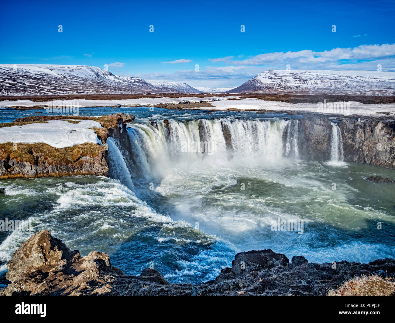 Godafoss, known as Waterfall of the Gods, a major tourist attraction in Iceland. - Stock Image