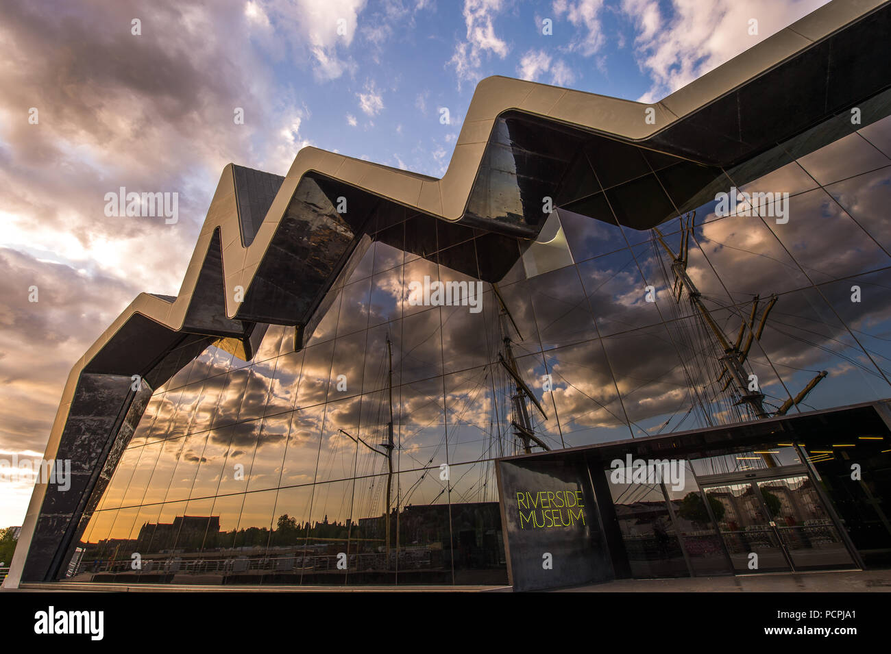 Riverside Museum of Transport, at Pointhouse Quay, Glasgow, Scotland - Stock Image