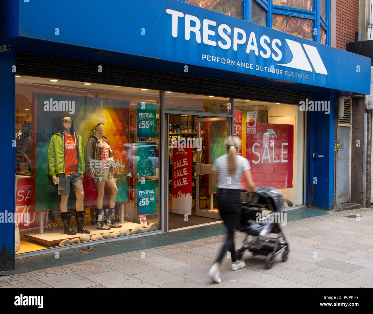 Trespass Sale of performance outdoor clothing; Summer Sales and promotions in Fishergate, Preston, UK - Stock Image
