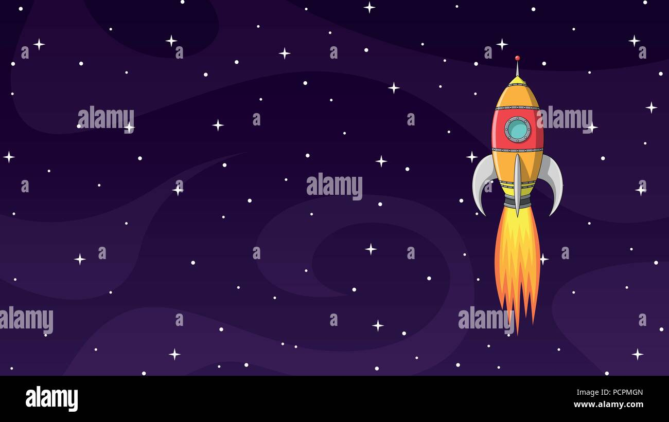 Colorful cartoon rocket in space with stars - Stock Image