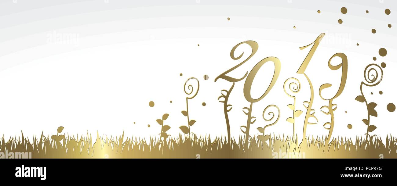 french happy new year 2019 vector large banner