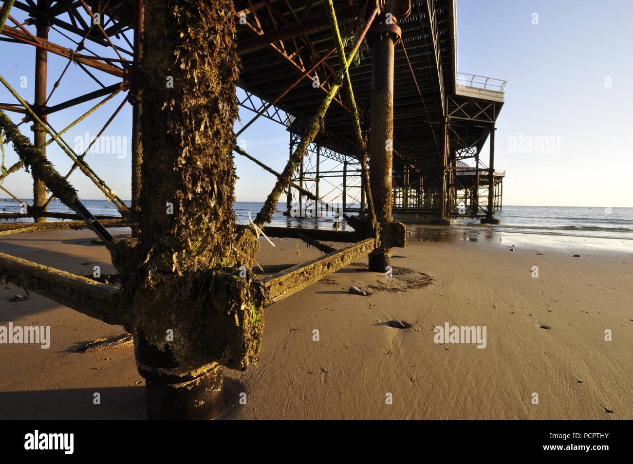 Cromer pier girders and underside, Cromer, Norfolk , UK, - Stock Image