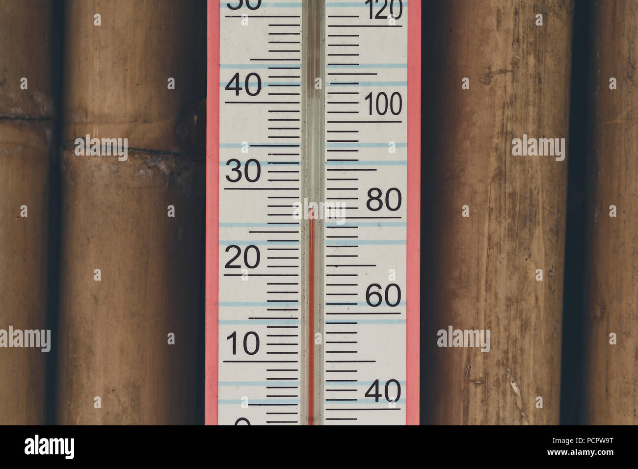 Closeup Of Household Alcohol Thermometer Showing Temperature In Degrees Celsius And Fahrenheit