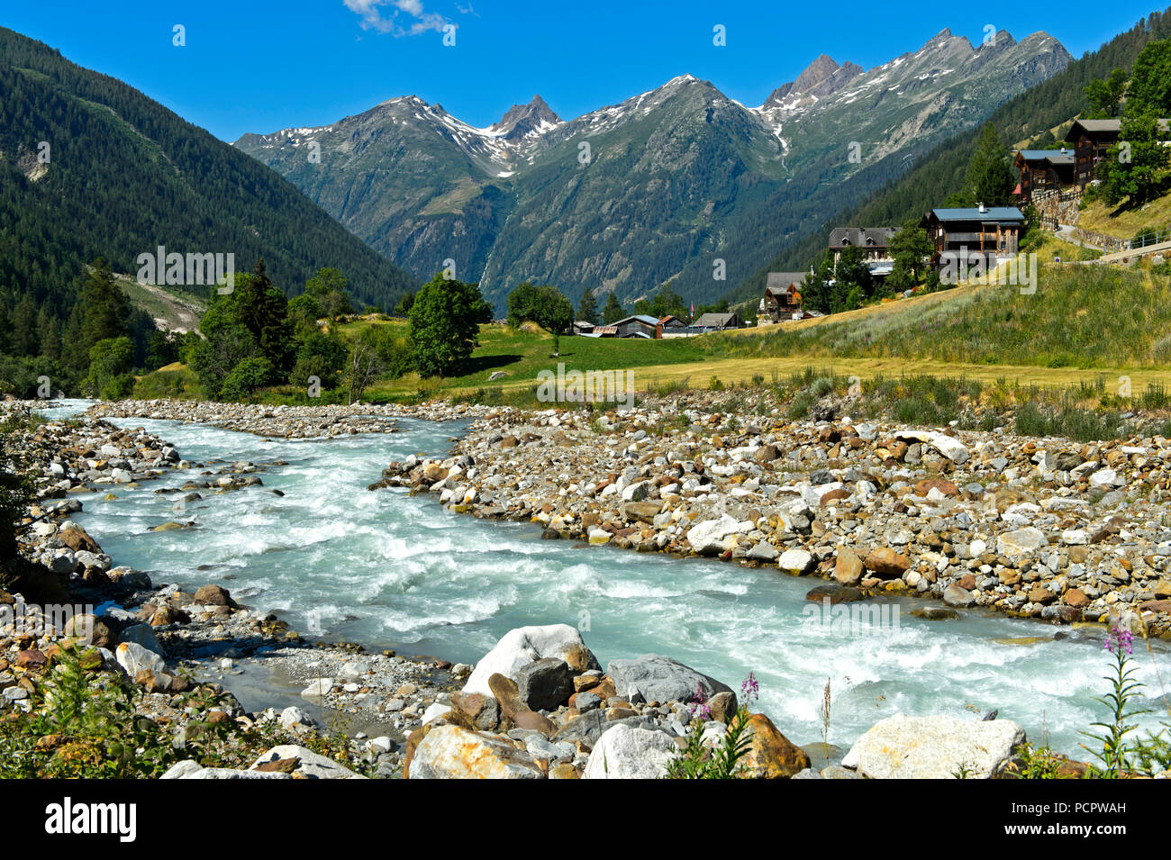 Bed of the mountain river Lonza near the hamlet Ried, Blatten, Loetschental Valley, Switzerland - Stock Image
