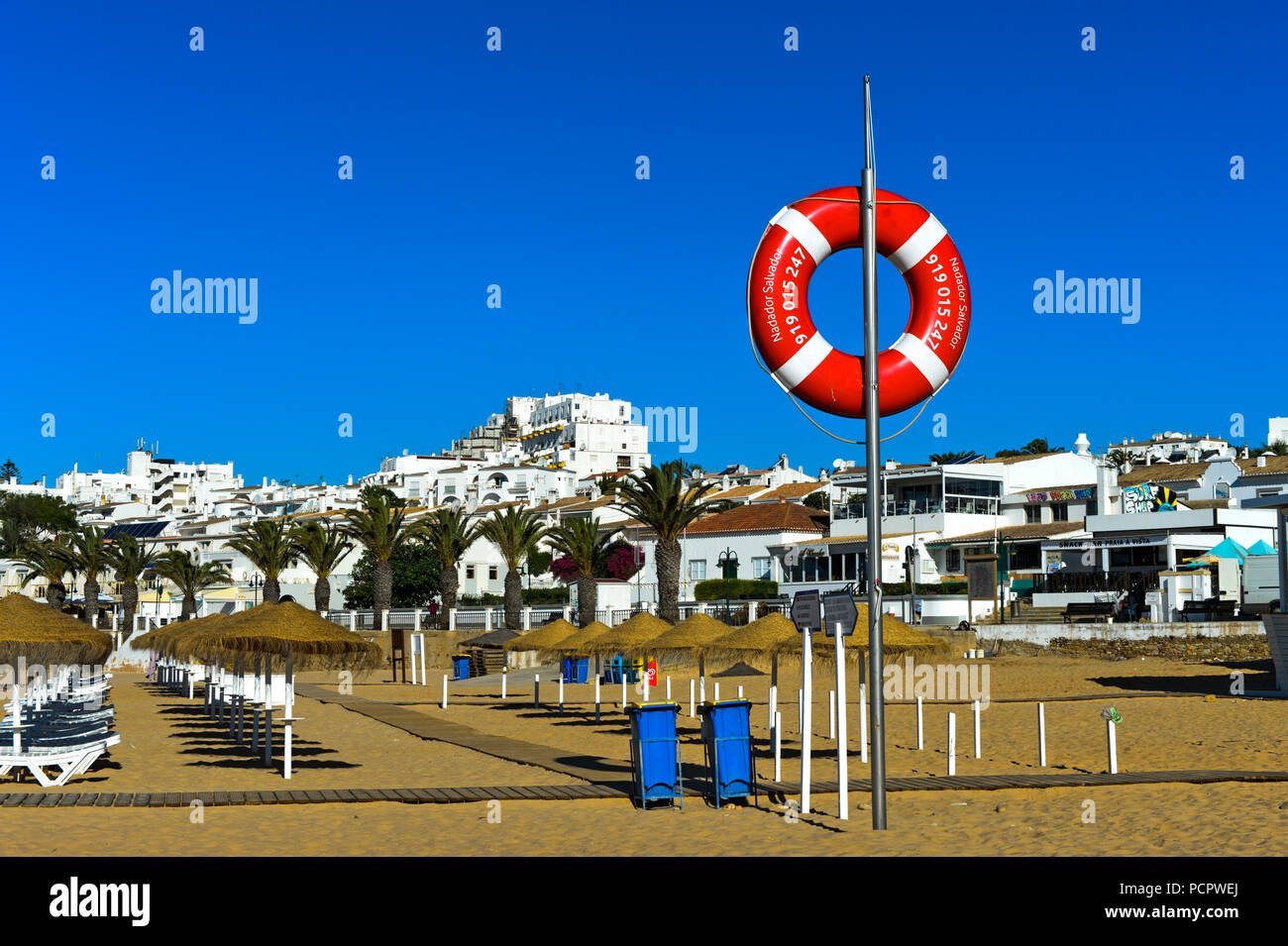 Rescue buoy at the ebach, Praia da Luz, Luz, Algarve, Portugal - Stock Image