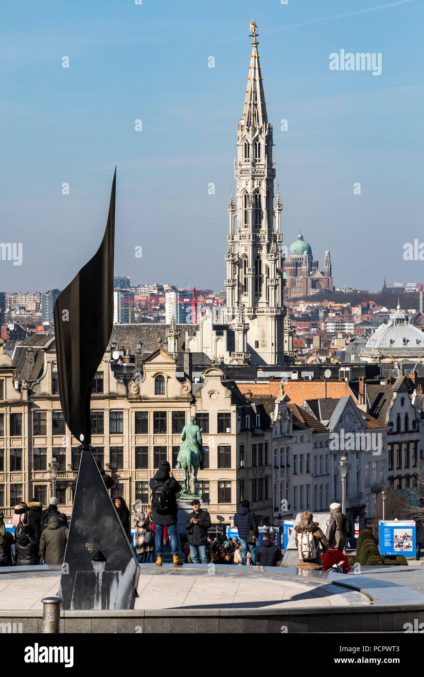 View from the art mountain, Monte des Arts, to downtown Brussels, tower of the historic town hall, behind the church National Basilica of the Sacred H - Stock Image