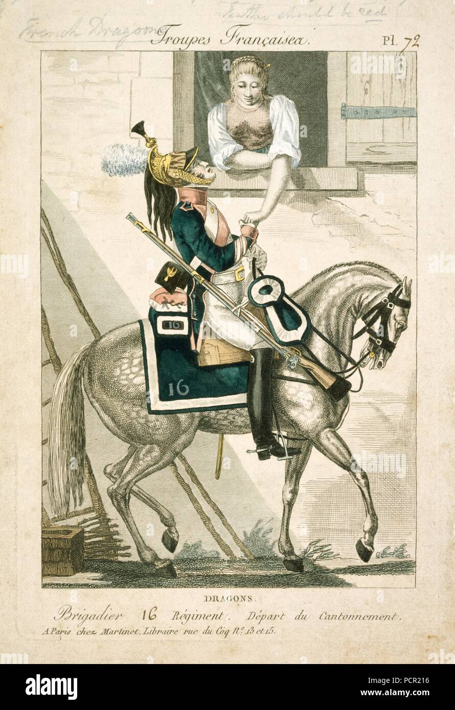 French dragoon of the Napoleonic Wars, early 19th century. A corporal of the 16th Regiment of Dragoons, leaving camp. Pencil annotation indicates that for this regiment the plume should be red, not white as shown. In 1815 the 16th Dragoons formed part of General Maurin's 7th Cavalry Division, attached to Gerard's IV Corps. They took part in the Battles of Ligny (16 June) and Wavre (18-19 June), but failed to defeat the Prussian rearguard in time to have an effect at the Battle ofWaterloo. - Stock Image