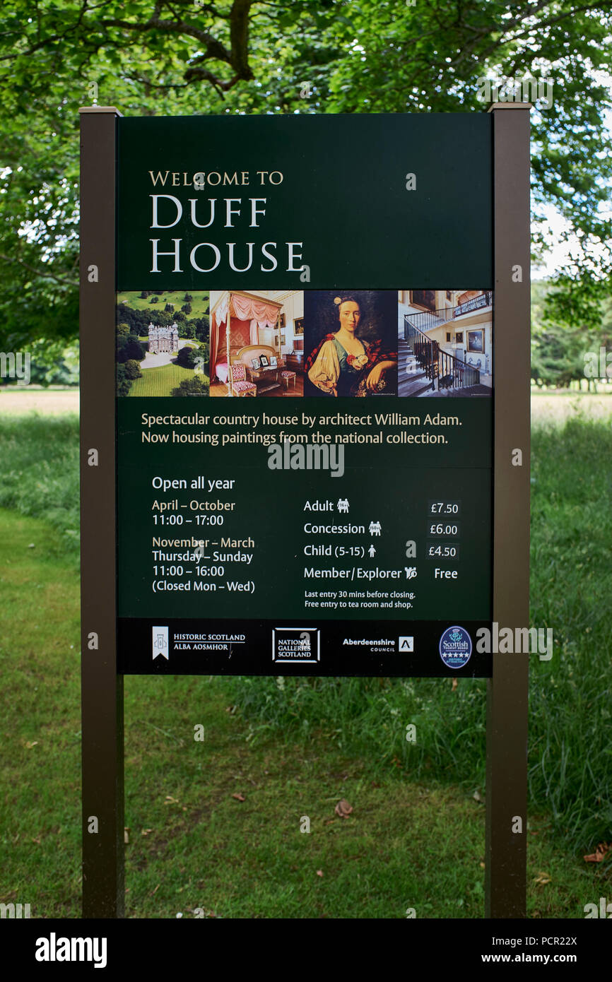 Visitor's information board at the entrance to Duff House, Banff - Stock Image