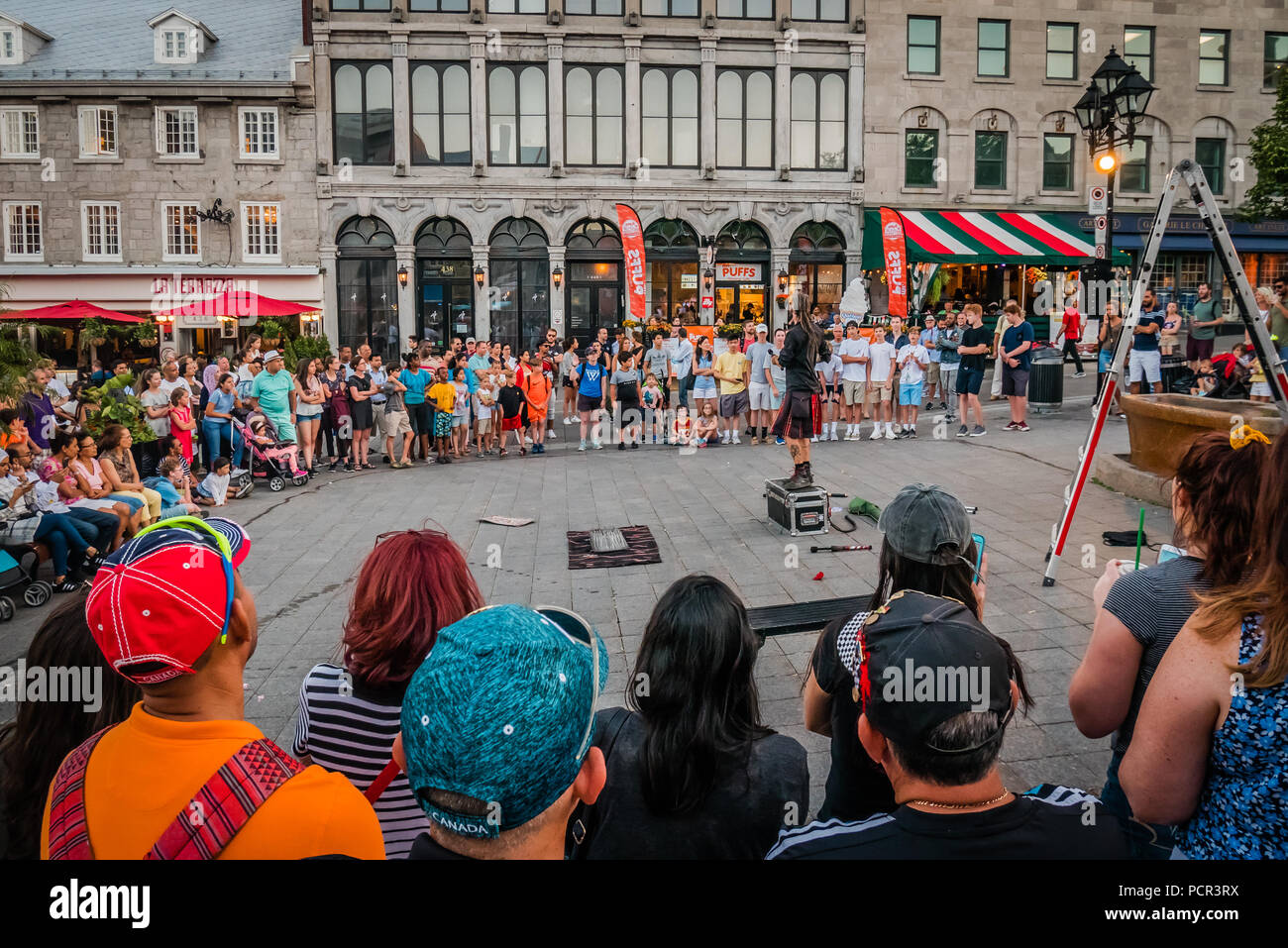 Place Jacques Cartier Street Performer Montreal Canada Stock