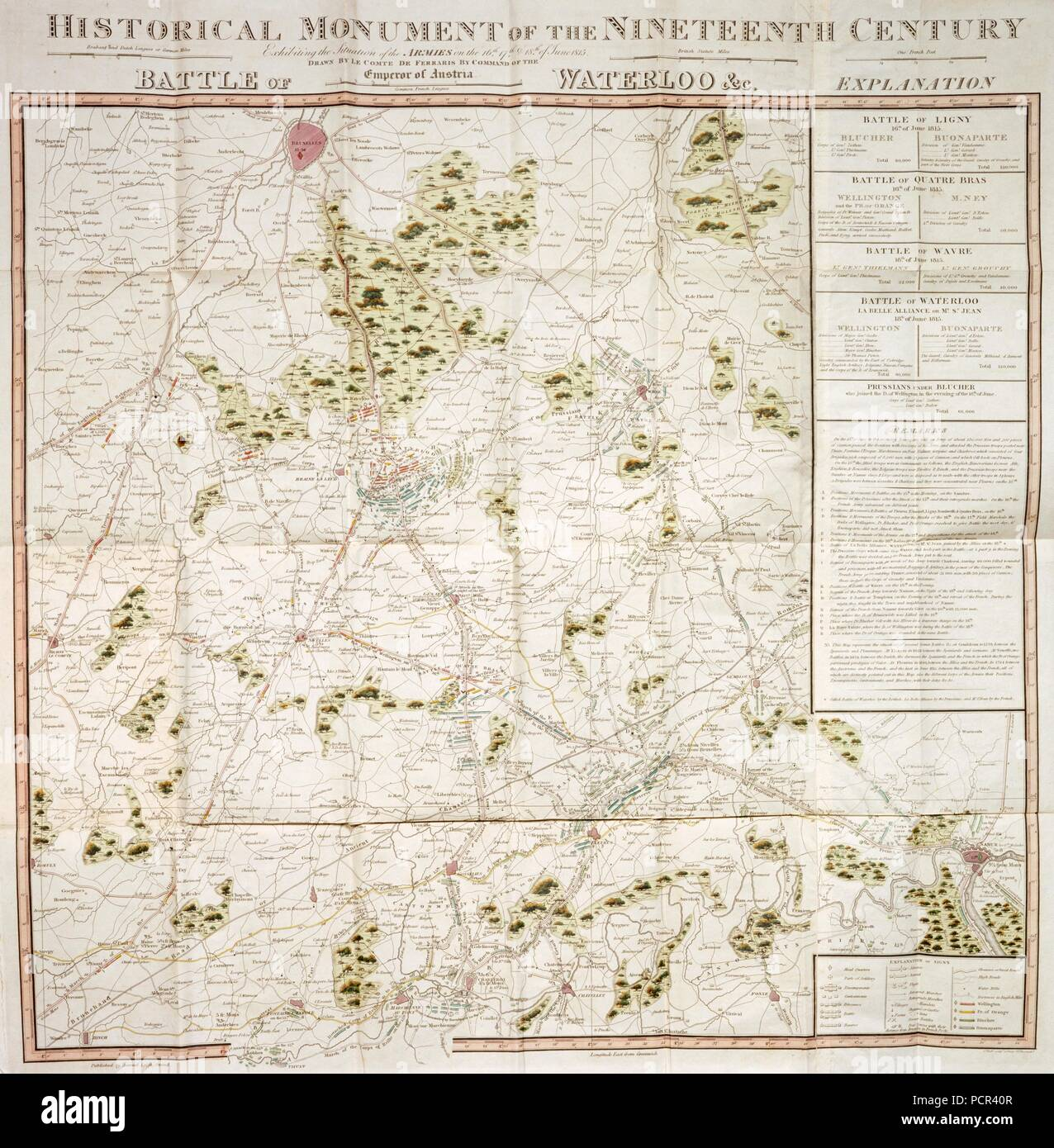 Map of the Waterloo campaign, 1815, Walmer Castle, Kent. Map Exhibiting the Situation of the Armies on the 16, 17 & 18 of June 1815. The Battle of Ligny, Quatre Bras, Waterloo and Wavre. - Stock Image