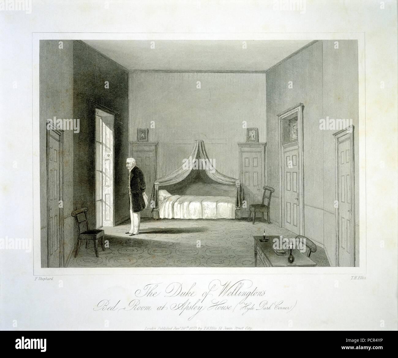 The Duke of Wellington's bedroom, Apsley House, London, 19th century. - Stock Image