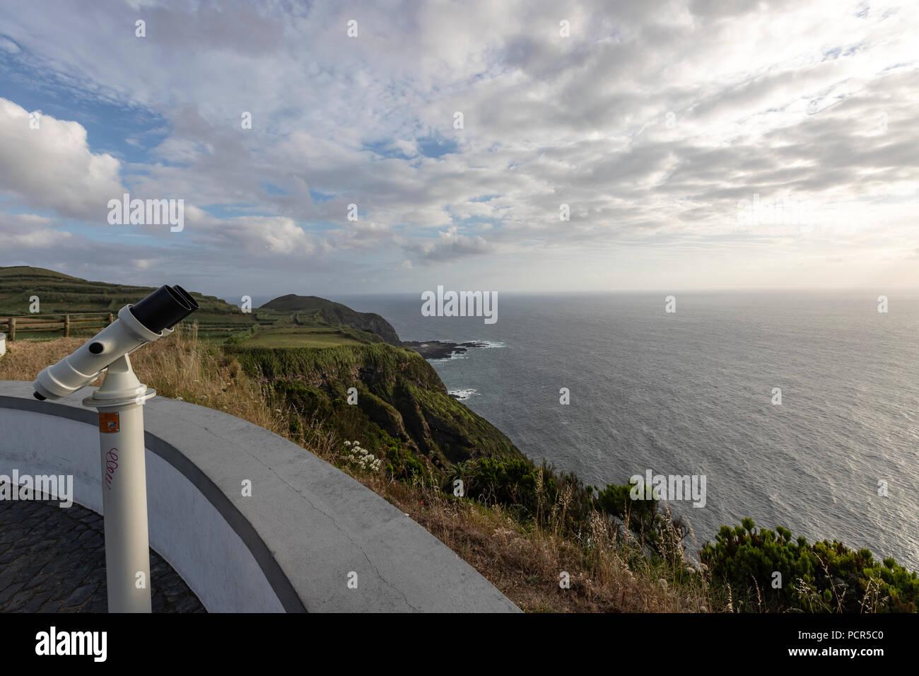 Binocular at the viewpoint from Miradouro da Ponta do Escalvado, Varzea, Sao Miguel island, Azores, Portugal - Stock Image