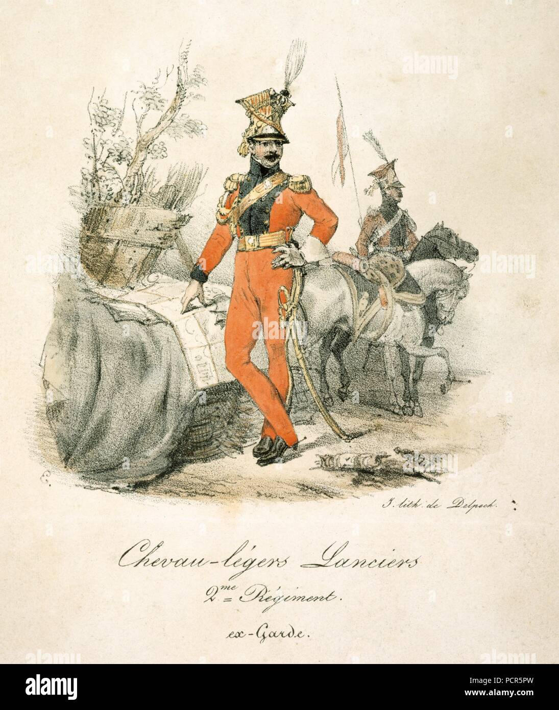 French lancers of the Napoleonic Wars, 19th century. An officer of the Chevaux-legers Lanciers (2nd Regiment of Imperial Guard), with a mounted private in the background.  In 1815 at the Battle of Waterloo this unit formed part of General Lefebvre-Desnouettes' Guard Light Cavalry Division, which took part in Marshal Ney's massed cavalry attack on the British lines. They had also been engaged at the Battle of Quatre Bras on 16 June as scouts ahead of Marshal Ney's main body. - Stock Image