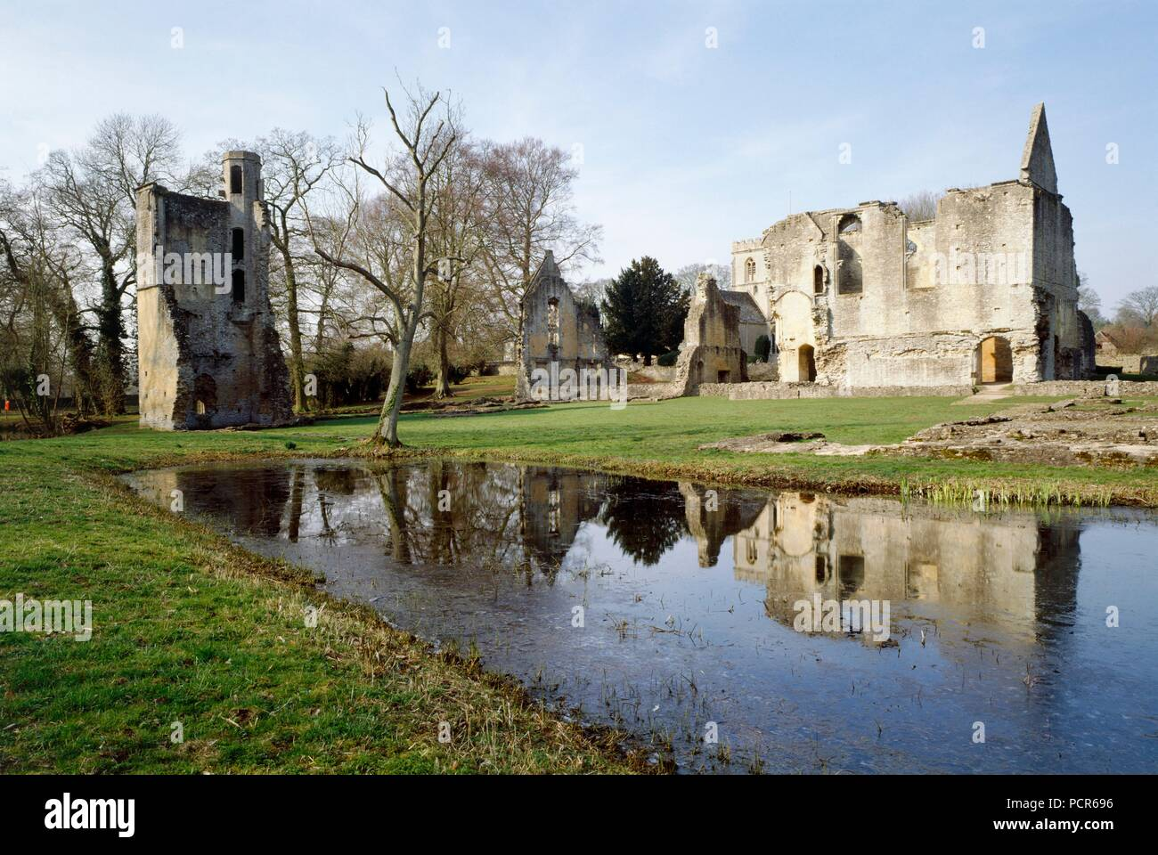 Minster Lovell Hall, Oxfordshire, c1980-c2017. View from the south-east. Formerly one of the great aristocratic houses of the county, the house was built c1431-1442 by the 7th Lord Lovell, but was dismantled in the 18th century and used as farm buildings. - Stock Image