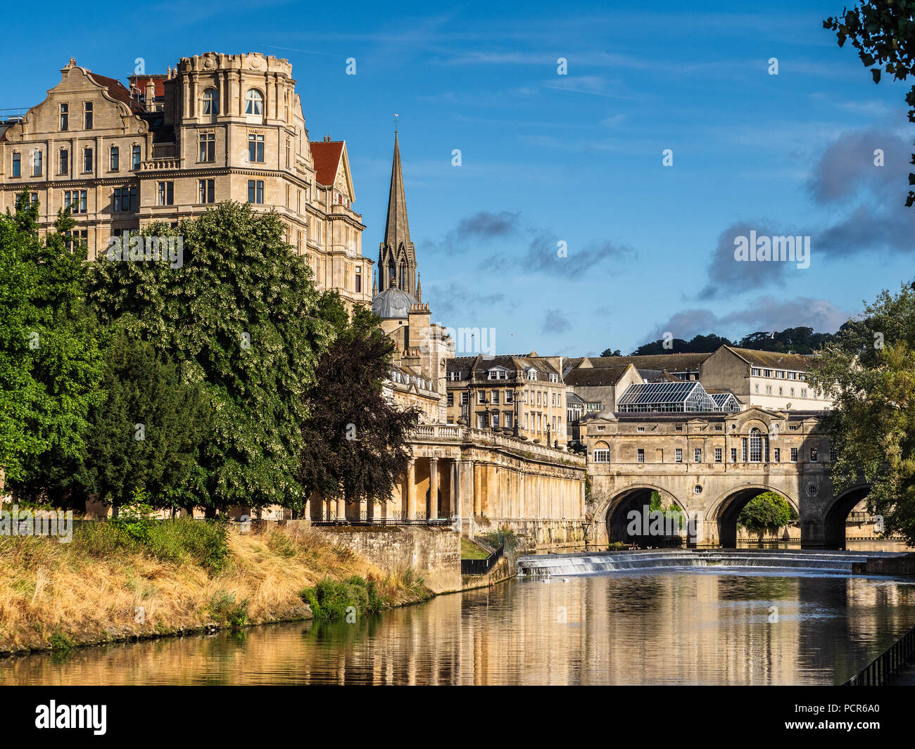 Bath England, Bath Tourism, view of the Pulteney Bridge and River Avon in central Bath Stock Photo