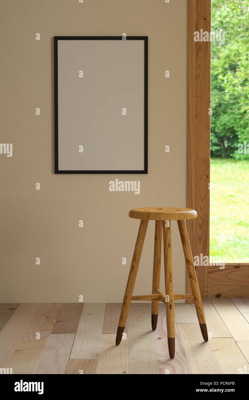 3d illustration interior. Mockup a poster 40 x 60 cm inside building. Room with wooden floor and window overlooking the nature. Backless bar stool mad - Stock Image