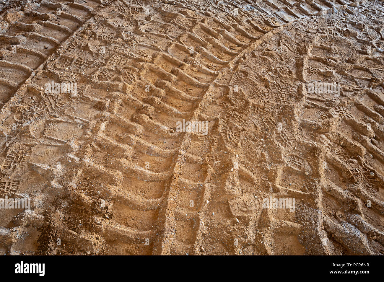 Truck Tire Tracks In Sand At Construction Site, New jersey, USA - Stock Image