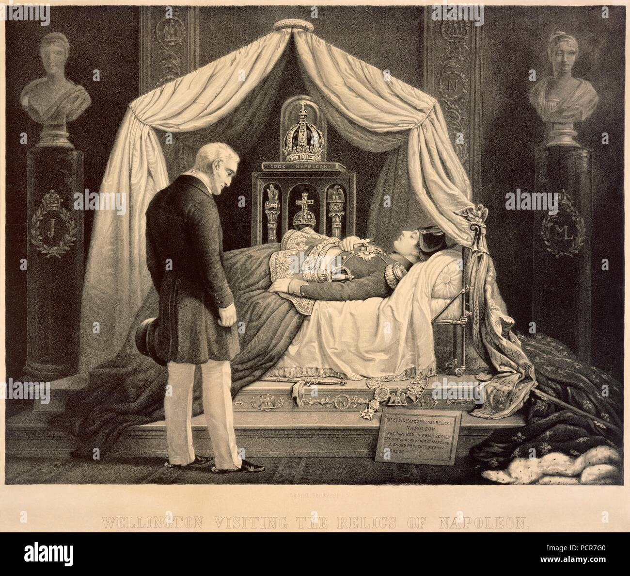 Wellington Visiting the Relics of Napoleon, 19th century.. Engraving in Apsley House, London. - Stock Image