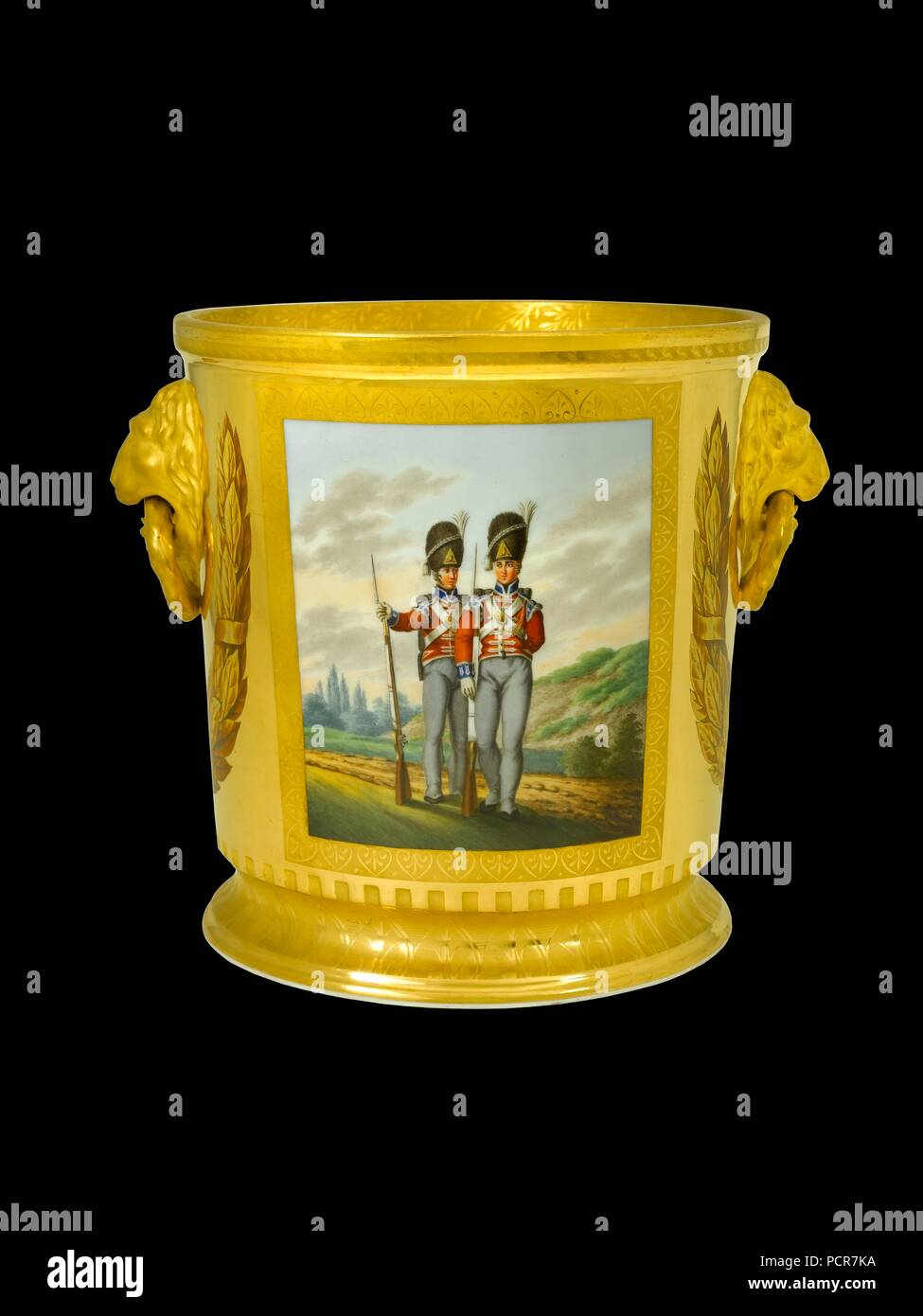 Wine cooler depicting British foot Guards, 1817-1819. Item in Apsley House, London, from the Duke of Wellington's Prussian Service, made in Berlin in 1817-1819 as a gift to the Duke from the King of Prussia. This wine cooler depicts troops commanded by Wellington in France in 1815: in this case soldiers of the 2nd (Coldstream) Guards (left) and the 1st Grenadier Guards. - Stock Image