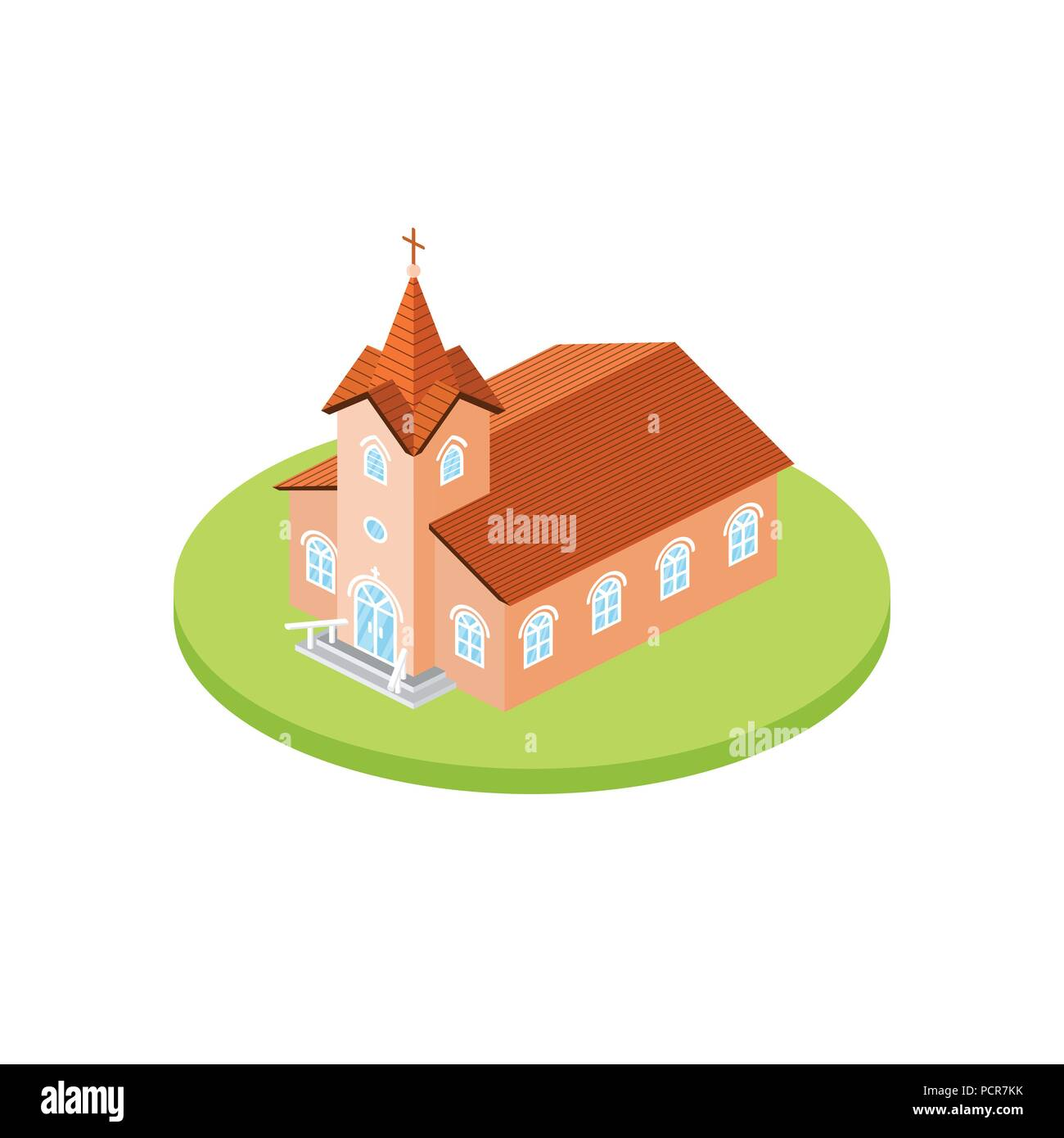 Isometric church icon. For web design and application interface, also useful for infographics. Vector illustration. Catholic Church landscape 3d. Stock Vector
