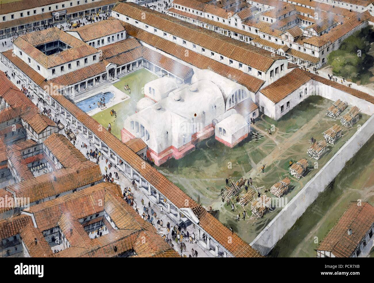 Baths, Wroxeter Roman City, Shropshire, 2nd century (c1980-c2017). Aerial view reconstuction drawing. - Stock Image