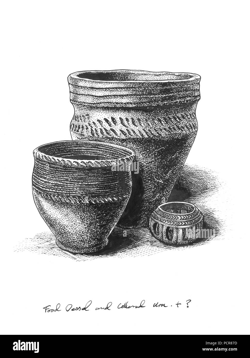 Bronze Age pottery, c1980-c2017. A food vessel, a collared urn and an incense pot. Reconstruction drawing. - Stock Image
