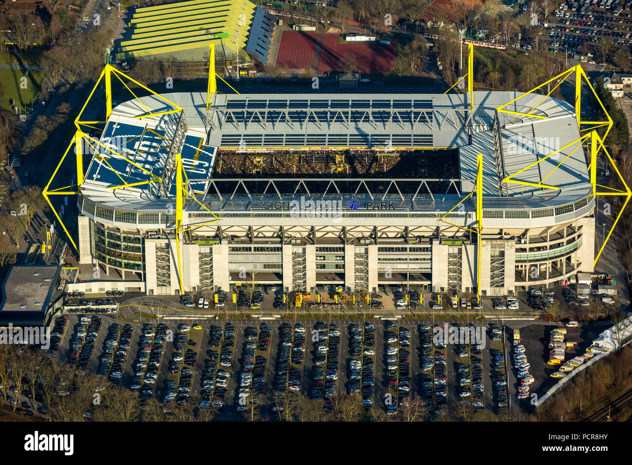 Revier Derby at Signal Iduna Park, Borussia Dortmund against FC Schalke 04 ended 3 to 0 at the Westfalenstadion Dortmund, Dortmund, Ruhr area, North Rhine-Westphalia, Germany - Stock Image