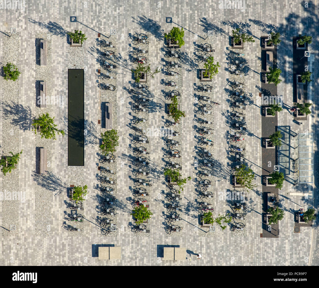 Bicycles from high school students from the Gymnasium am market square on the market square, bicycle stand, bicycle parking, Bünde, East Westphalia, North Rhine-Westphalia, Germany - Stock Image