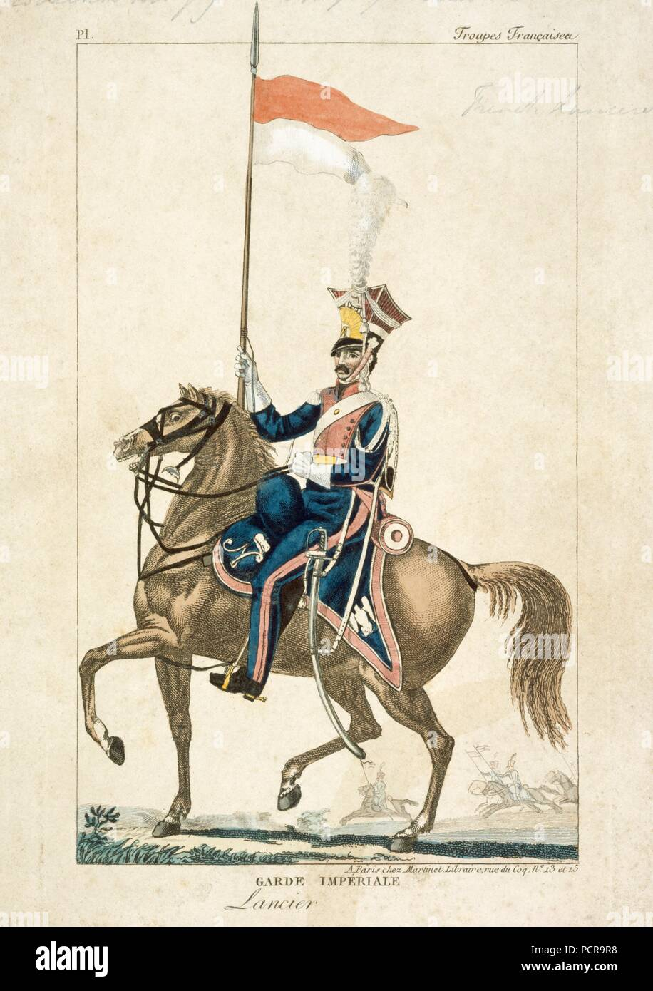 French lancer of the Imperial Guard, Napoleonic Wars, c1815. Engraving produced in Paris. In 1815 at the Battle of Waterloo this unit formed part of General Lefebvre-Desnouettes Guard Light Cavalry Division, which took part in Marshal Ney's massed cavalry attack on the British lines. They had also been engaged at the Battle of Quatre Bras on 16 June as scouts ahead of Marshal Ney's main body. - Stock Image