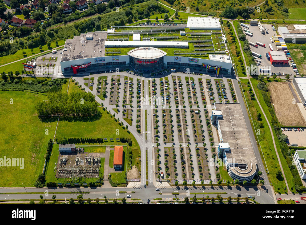 Furnishing house Ostermann Bottrop at the B224, furniture discounter, furniture store, car park, Bottrop, Ruhr area, North Rhine-Westphalia, Germany - Stock Image