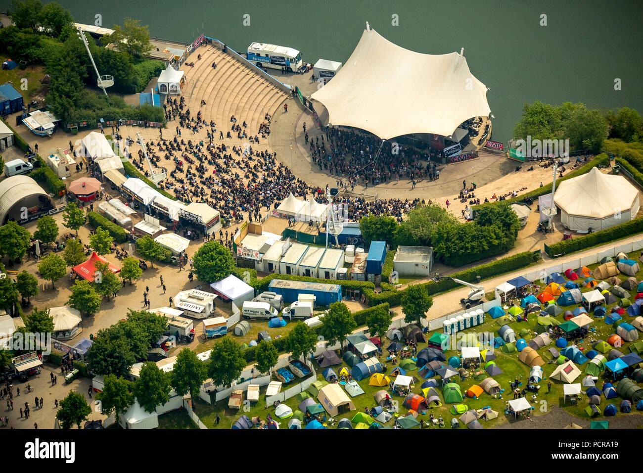 Rock Hard Festival 2015 Amphitheater Gelsenkirchen at Rhein-Herne-Kanal, music festival, tents of rock fans, open air festival, rock concert, Gelsenkirchen, Ruhr area, North Rhine-Westphalia, Germany - Stock Image