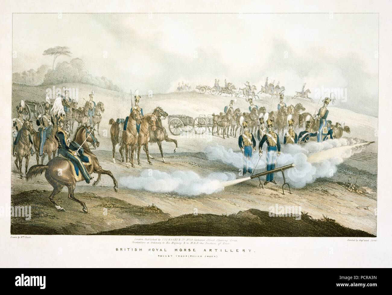British Royal Horse Artillery rocket troop, 19th century. In 1815 at the Battle of Waterloo, Major Edward Charles Whinyates' rocket troop were attached to the Cavalry Corps, and equipped with both rockets and cannon. Accounts of the effectiveness of their rockets vary, but they were regarded as an irritant by the French. - Stock Image