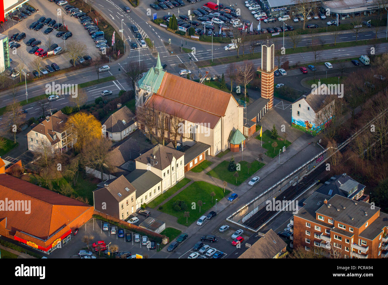 Renovation with a new copper roof for the St.Joseph Church in Heißen, next to the German Scout Association St.Georg, Mülheim an der Ruhr, Ruhr area, North Rhine-Westphalia, Germany - Stock Image