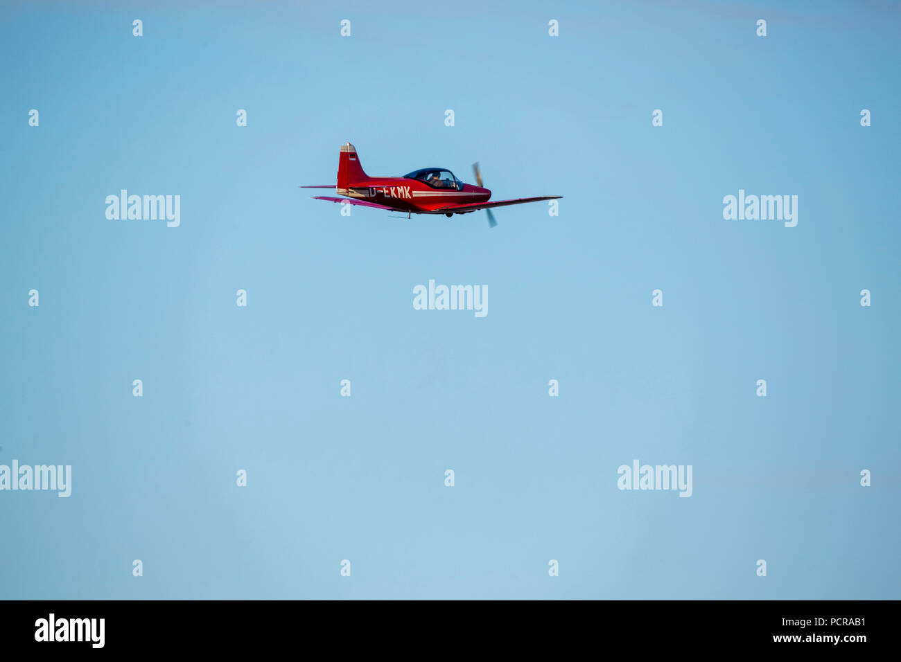 red Falco plane, wood construction, D-EKMK, General Aviation, Echo-Class passenger plane, Sport aircraft over Hamm, Hamm, Ruhr area, North Rhine-Westphalia, Germany Stock Photo