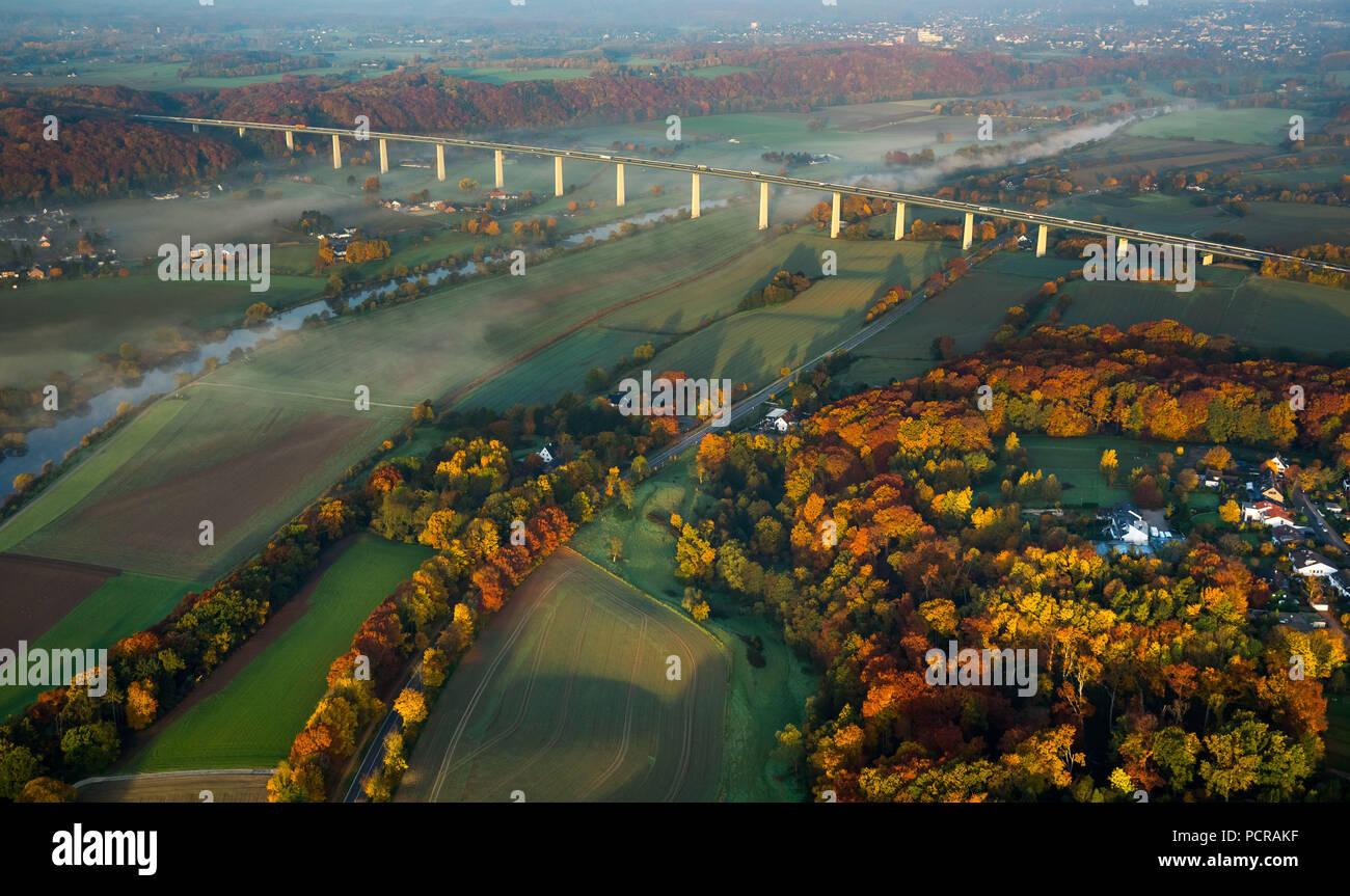 Ruhrtal bridge A52, A52 autobahn, Mintarder bridge, Ruhr valley crossing, Ruhr, Mülheim, Mintard, Ruhr area, North Rhine-Westphalia, Germany - Stock Image
