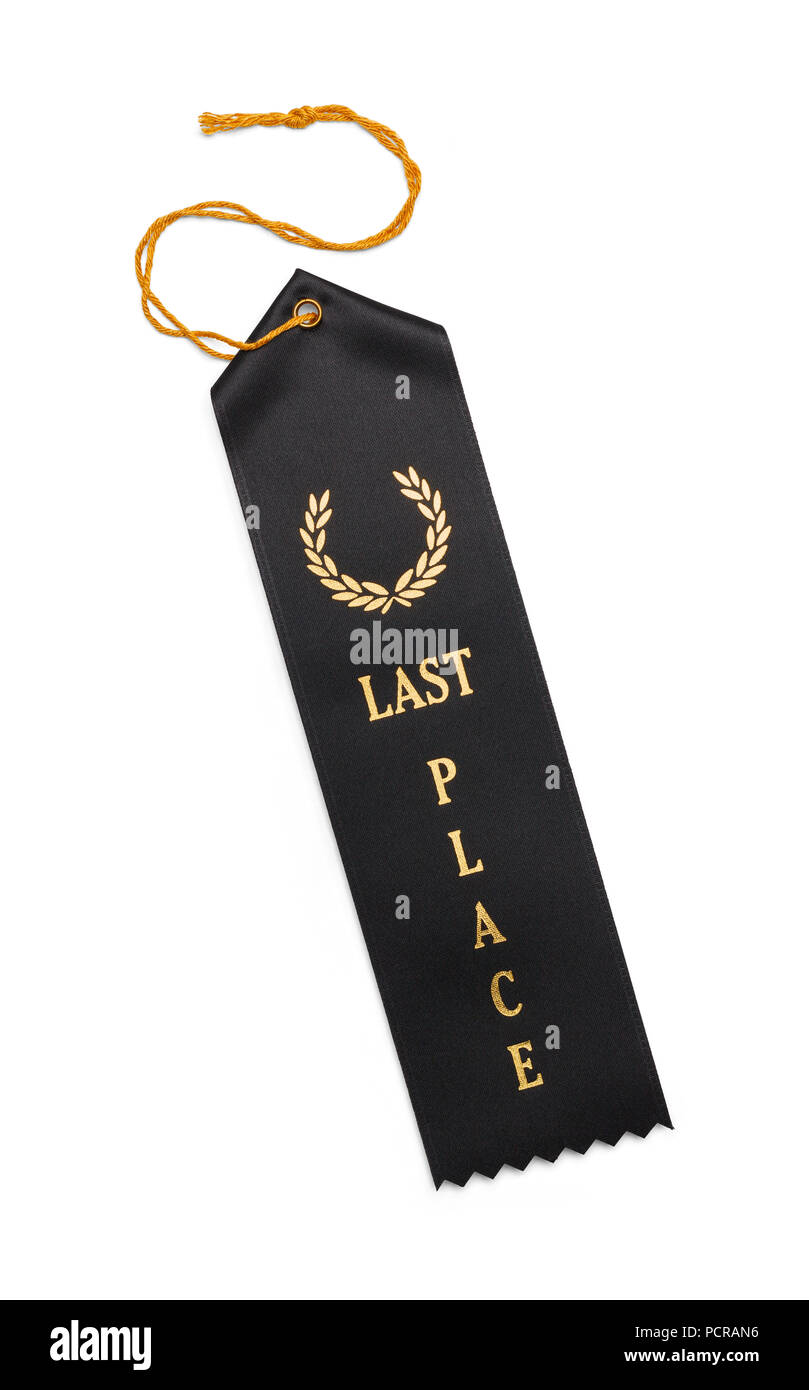 Last Place Award Ribbon Isolated on White Background. - Stock Image