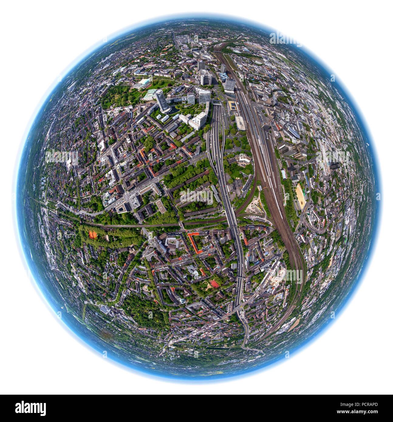 Lippeverband Essen, Emschergenossenschaft, Fish Eye Image, Essen Mitte, World Globe of Essen, Vertical Shot, Essen, Ruhr area, North Rhine-Westphalia, Germany - Stock Image