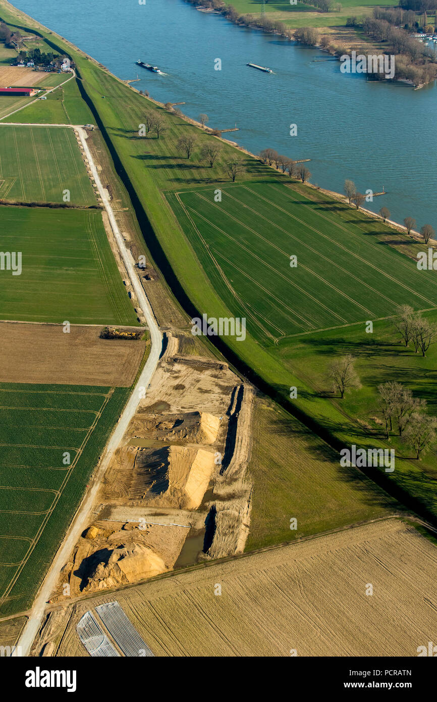 Construction work on the dikes of Ehingen, Rhine dike, flood protection, Duisburg, Ruhr area, North Rhine-Westphalia, Germany - Stock Image