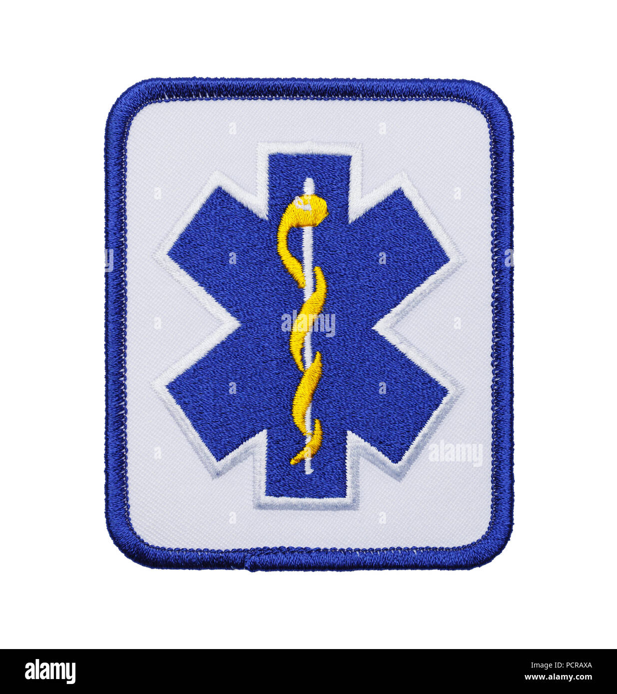 Blue EMT Paramedic Patch Isolated on White  Background. - Stock Image