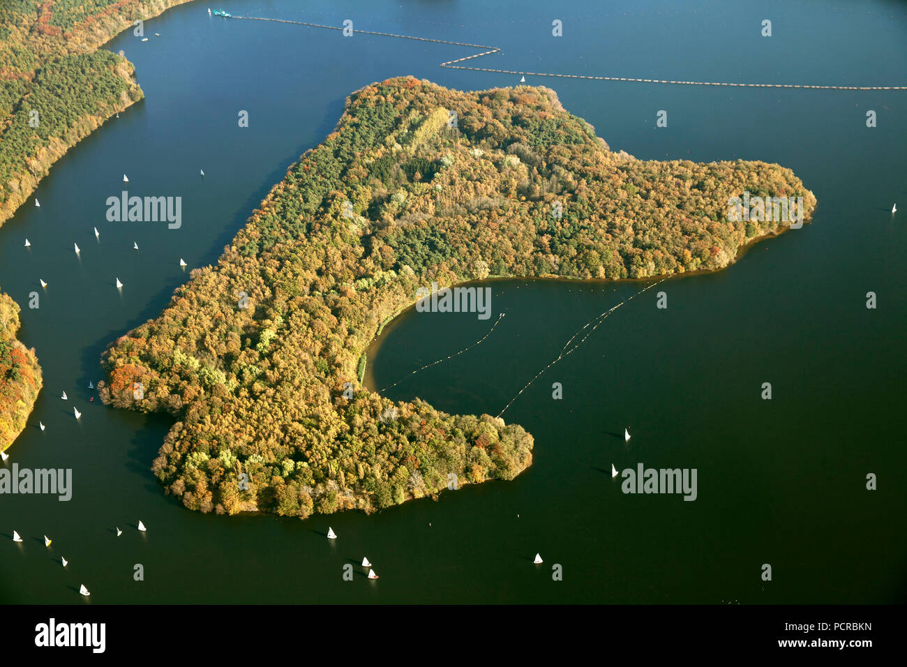 Aerial photo, island in the lake, Haltern Reservoir with sailboats, water protection area, Gelsenwasser utilities company, Haltern am See, Ruhr area, North Rhine-Westphalia, Germany, Europe - Stock Image
