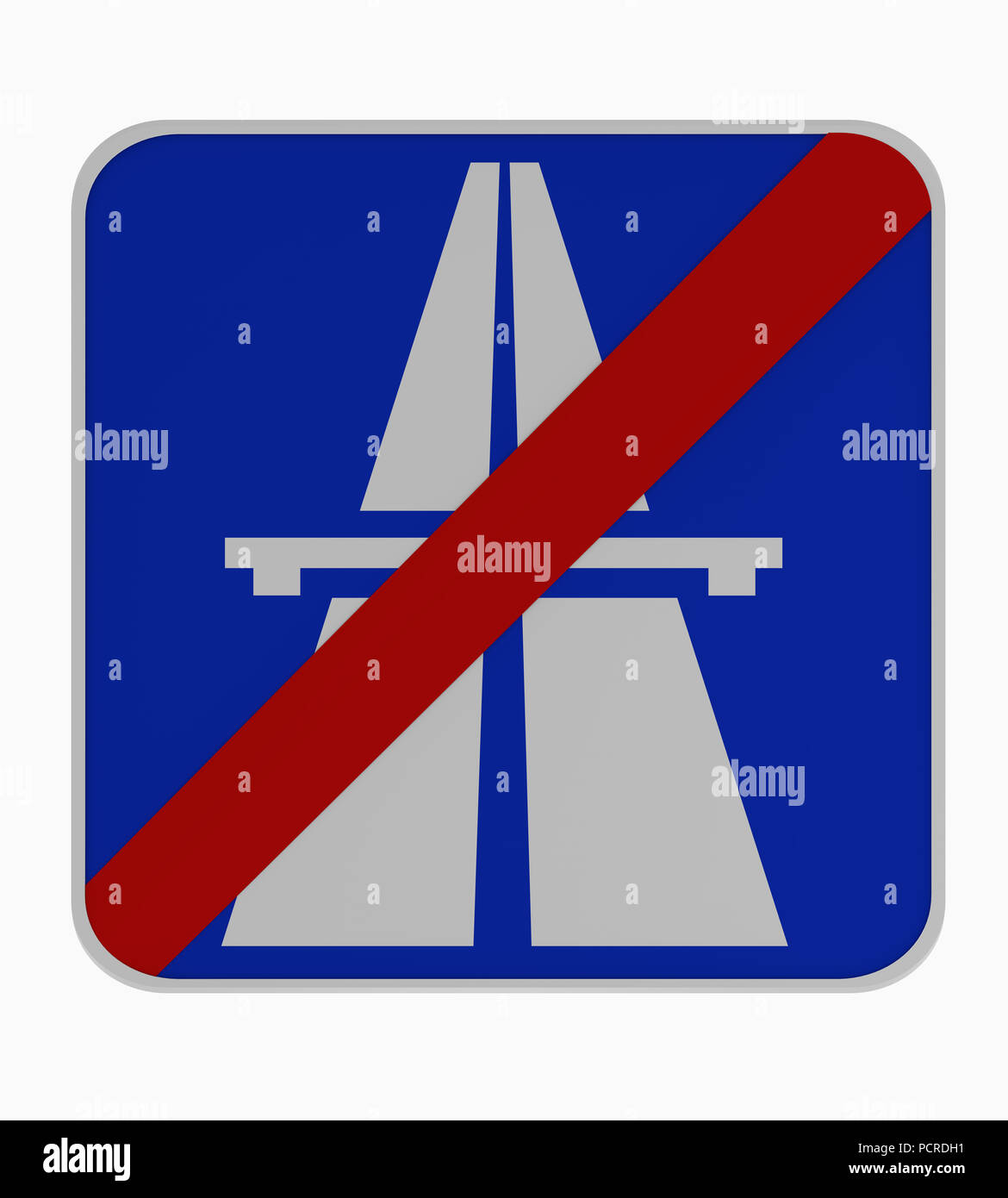German traffic sign: end of highway. 3d rendering - Stock Image