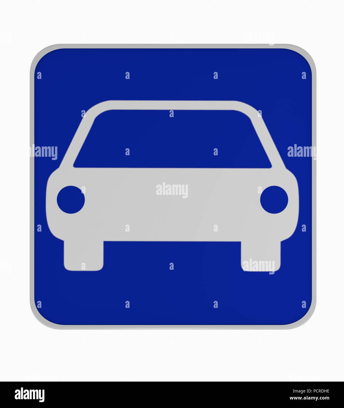 German traffic sign: beginning of motor vehicle road. 3d rendering - Stock Image
