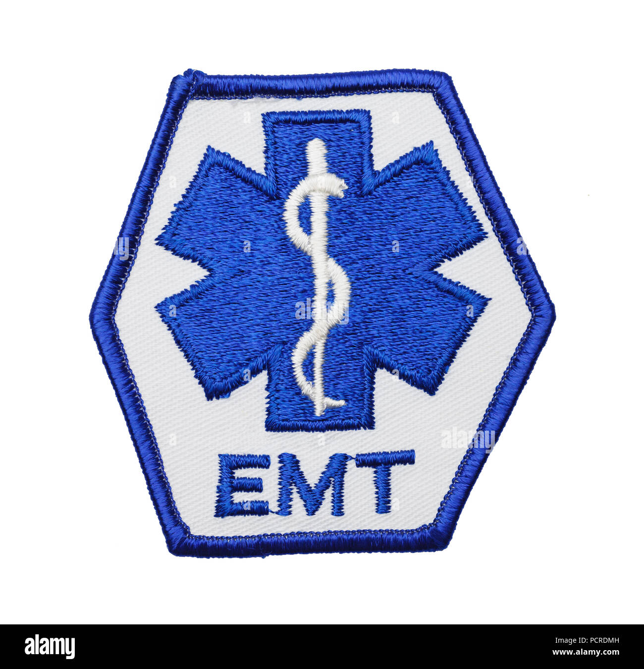 Medical EMT Uniform Patch Isolated on a White Background. - Stock Image