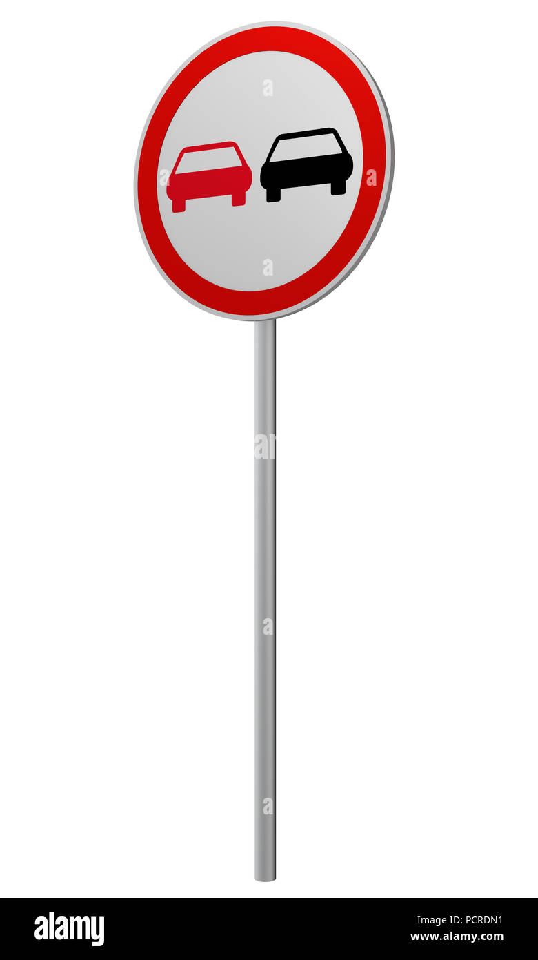 German traffic sign: no passing, isolated on white, 3d rendering - Stock Image