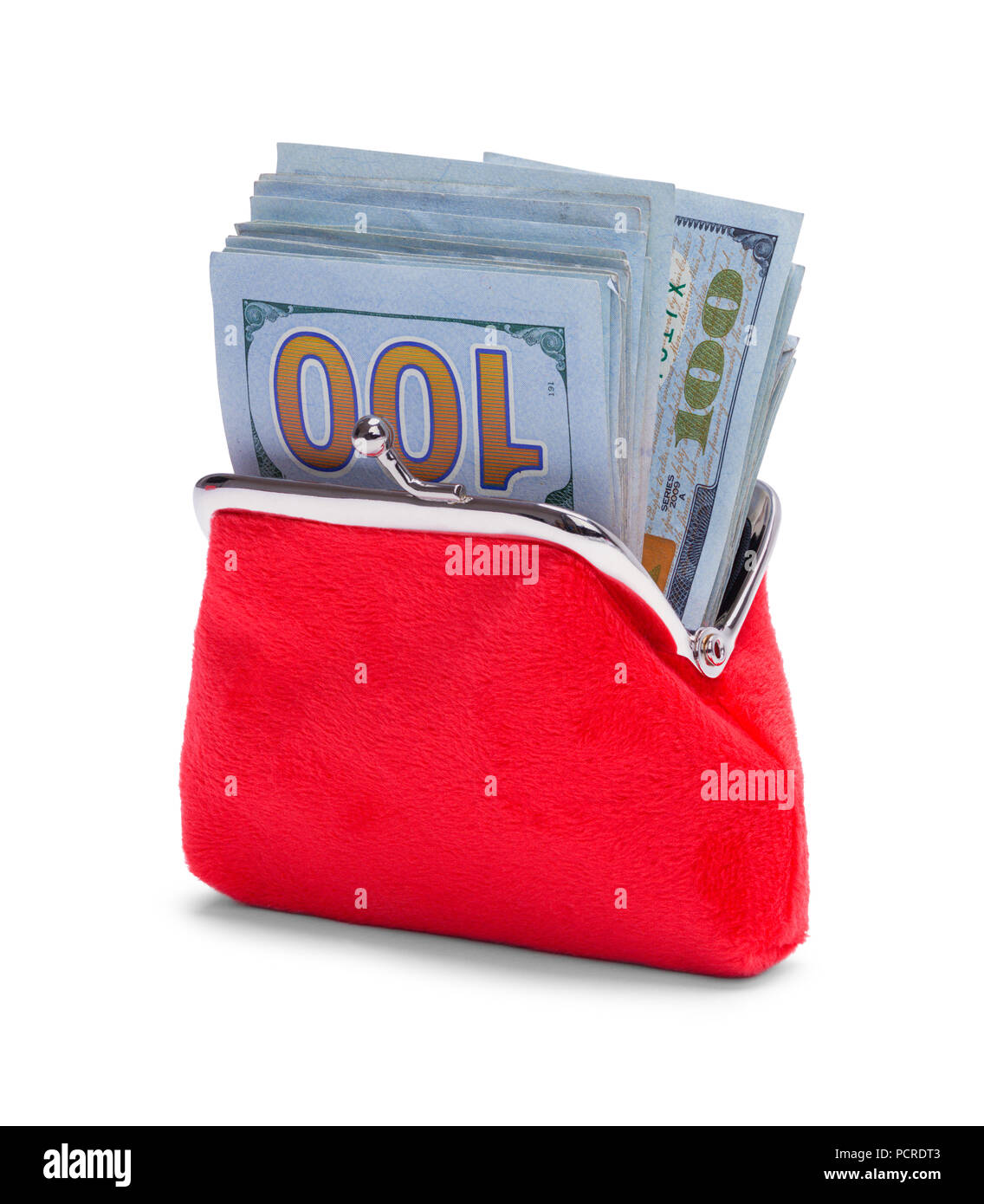 Red Coin Purse Stuffed Full of Money Isolated on White Background. - Stock Image