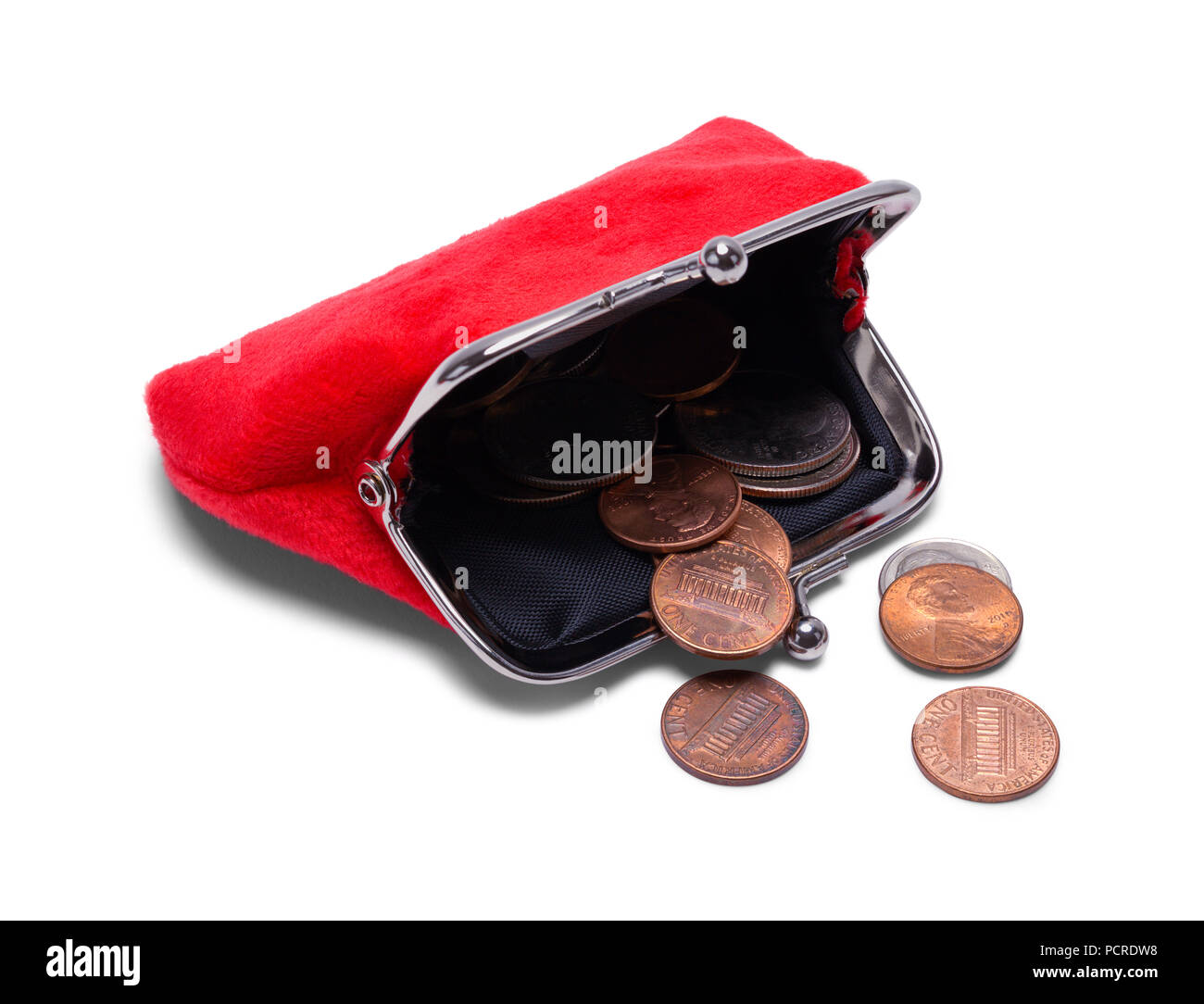 Open Coin Purse With Change Spilling Out Isolated on White. - Stock Image