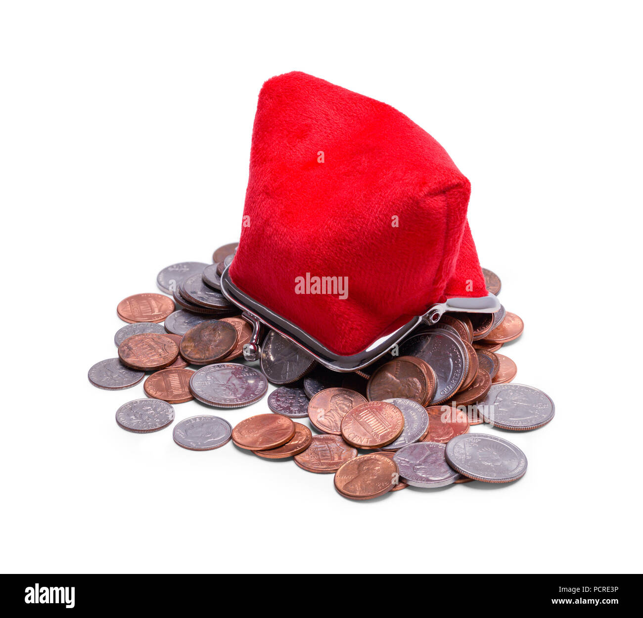 Upside Down Red Coin Purse Spilt Out Isolated on White. - Stock Image